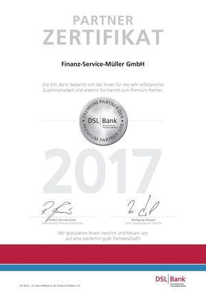 Partner Zertifikat 2017 DSL-Bank
